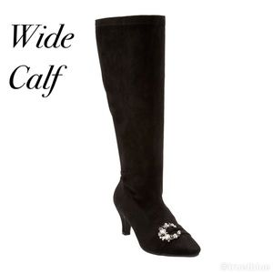 Wide Calf Faux Suede Embellished Boots